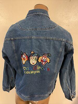 Vintage Circus Circus Casino Las Vegas denim jean Jacket Mens Large