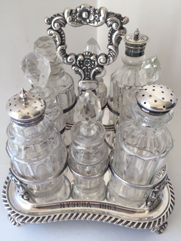 Old Cruet Set with Eight Bottles Engraved N.Y.S.E.G.A. 1963