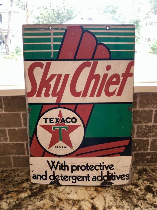 """Original 1960's Texaco Sky Chief Pump Plate Gas & Oil Sign 18""""X12"""" Rare"""
