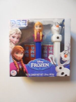 Disney Frozen Anna and Olaf Pez dispensers with candy New in Box
