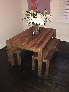Solid Rosewood Timber Dining Table and Benches Waverley Eastern Suburbs Preview