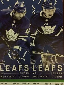 Toronto Maple Leafs vs. Edmonton Oilers- Wed. Feb. 27
