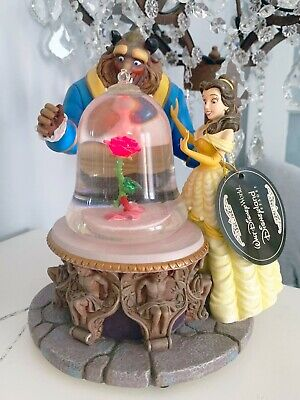 Disney Beauty and the Beast Musical Water Snow Globe Rose Enchanted 1991 w/ Box