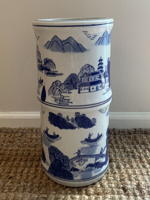 "Vintage Chinoiserie Tube Vase Umbrella Stand  15"" Bamboo Form Blue & White Heavy"