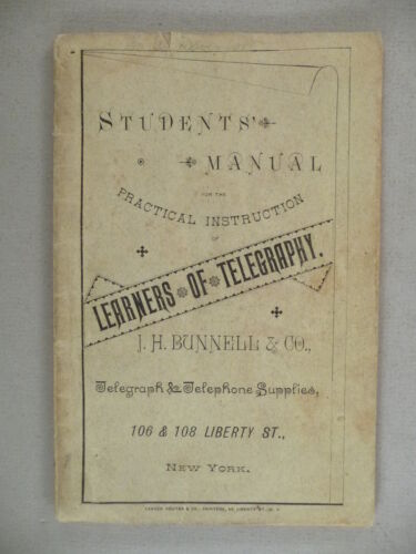 J.H. Bunnell CATALOG - 1888 ~~ manual of telegraphy & telephone
