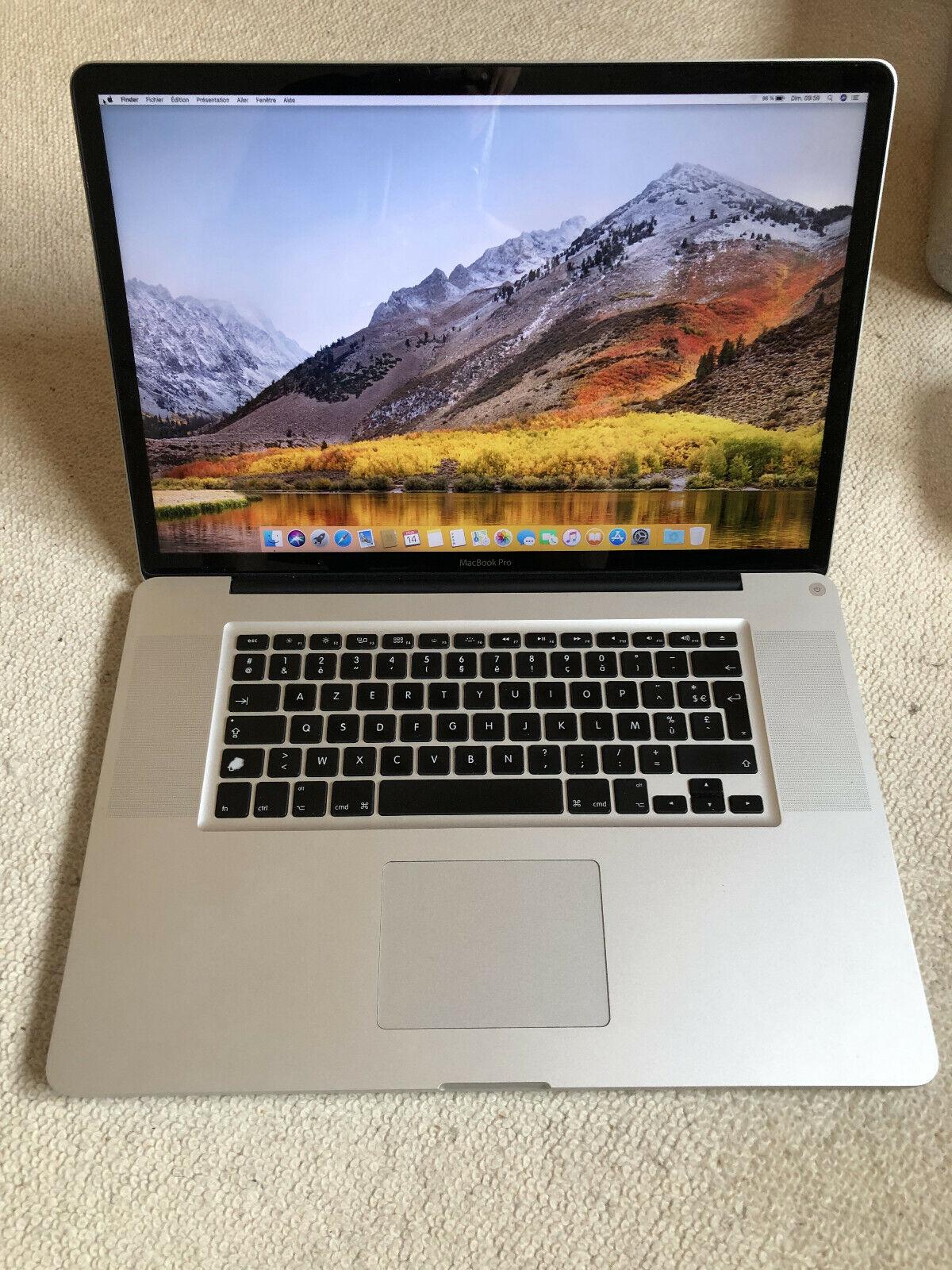 Macbook pro 17 pouces  fin 2011 ram de 16go ram, dd de 750go, intel à 2,4ghz