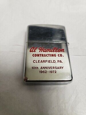 Old Vtg 1972 ZIPPO Lighter Al Hamilton Contracting Co. Clearfield PA Advertise
