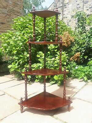 Antique Vintage Style Corner Whatnot Stand Tiered Shelves Unit Wood Wooden Retro