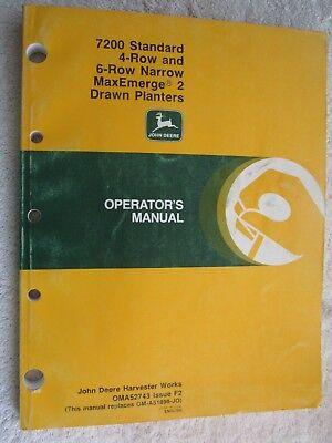 John Deere 7200 Maxemerge 2 Standard 4 6-rn Planter Operators Manual Oma52743