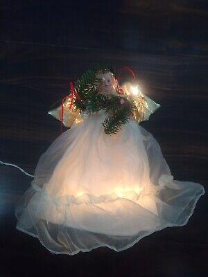 "Christmas Angel Tree Top Porcelain White Dress Lights Up Lace 12"" Works Vtg"