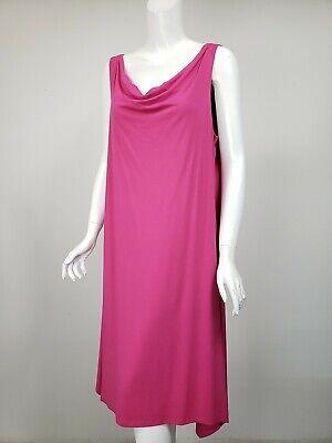 EILEEN FISHER Rose Pink Stretch Knit Jersey Cowl Neck Midi Dress sz L