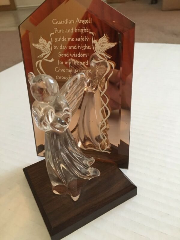 "Dacra Glass ""Guardian Angel"" Saying on Glass Frame 7"" Wood Stand"
