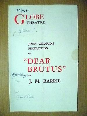 Globe Theatre Programme 1941- DEAR BRUTUS by J M Barrie