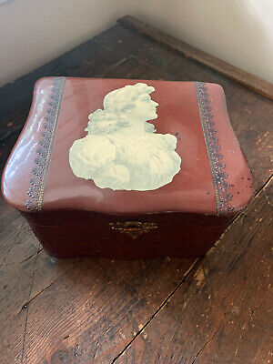 Antique 19th Century Victorian Celluloid Collar & Cuffs Box Embossed w Collars