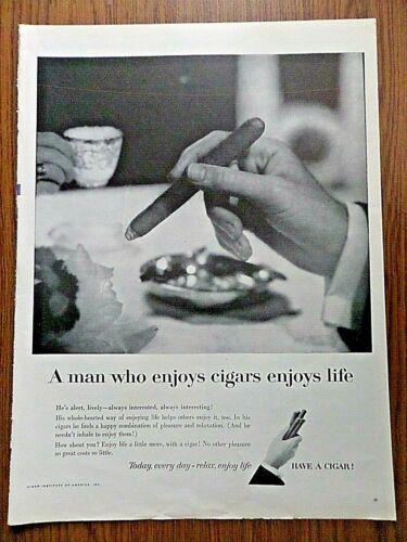 1957 Cigars Ad  The Man who Enjoys Cigars Enjoys Life