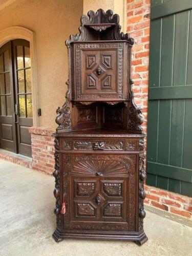 Antique French Corner Cabinet Bookcase Carved Oak Black Forest Renaissance 1800s