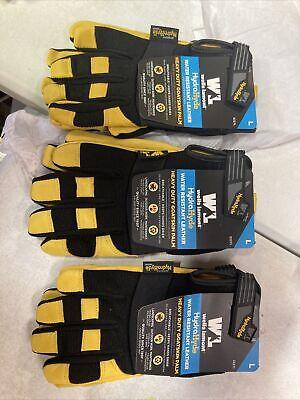 3pair Wells Lamont Heavy Duty Leather Work Gloves Large Premium Hydrahyde