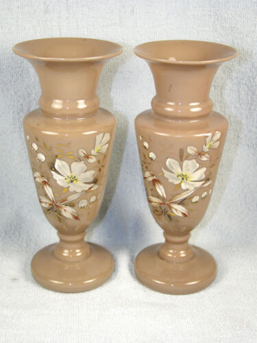 Pair Antique Dark Custard Glass Hand Painted Floral Decorated Vases