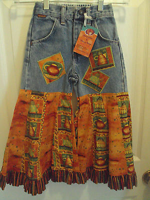 Teapots Orange RARE Boutique DIY Ruffles Custom Country Pants Jeans Girls Size 6