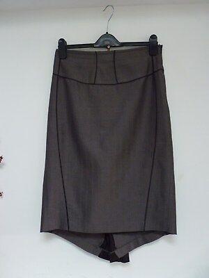 Ladies Lovely Definitions Grey Herringbone Below Knee Formal Trin Skirt ,12, Vgc