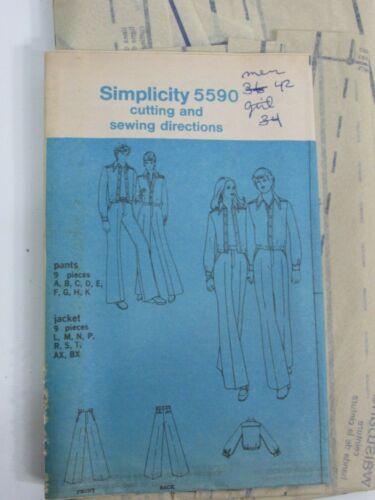 "Vintage Simplicity 5590 Mens Size 42 Waist 36"" Hip 43"" Jacket & Pants 1973"