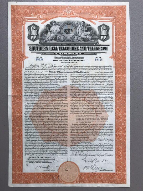 Southern Bell Telephone & Telegraph Company 1939 $1K Bond Certificate Vignette