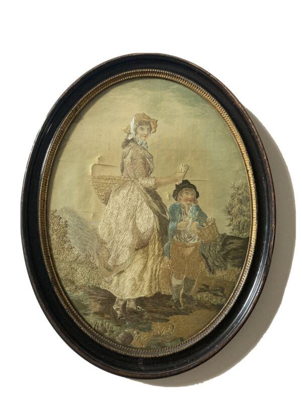 Antique 19th Century Silk Work Embroidered Needlework Picture