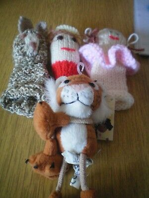 KNITTED FINGER PUPPETS & TIGER PGCE EARLY YEARS CLASSROOM RESOURCE VGC