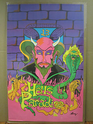 Vintage Garden of Eden black light Poster original  1970 3226