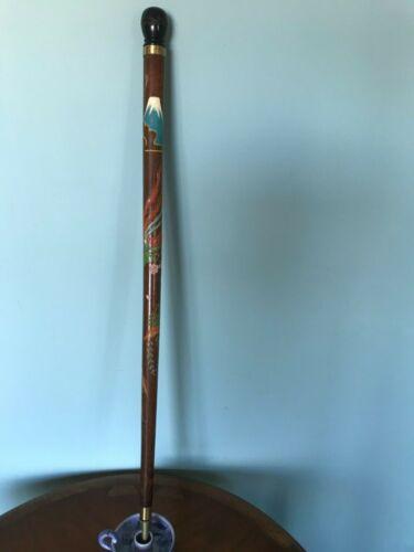 Vintage WW2 Hand-Carved  Painted Pool Cue Walking Stick, Japan