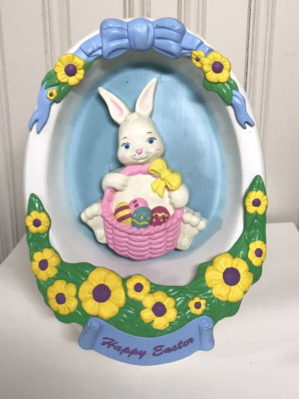Vintage Empire Easter Egg Bunny Blow Mold Diorama Decoration No Light