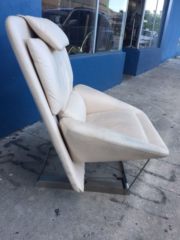 Rare Vintage 1970s Modernist Saporiti Italy Leather Chair Vittorio Introini
