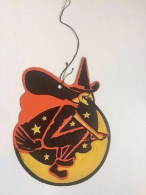 Vintage Halloween Hexe Wandbehang Dekoration auf Besen Hergestellt in den USA