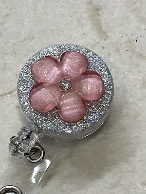 Pink Badge (Bling Flower Pink Nurse ID Badge Holder Retractable Reel On Clip, new)
