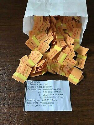 """1000 @ $1""""Hill Boy Bucks"""" Payout $650 Profit $350 Jar Ticket Free Shipping USA"""