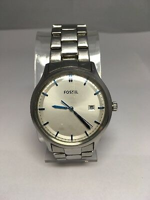 Fossil Men's Watch Date Stainless Steel Bracelet & Blue Number Markers FS-4683