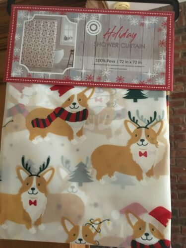"NWT **Corgi Reindeer Dog** Novelty Christmas PEVA Shower Curtain 72"" x 72"""