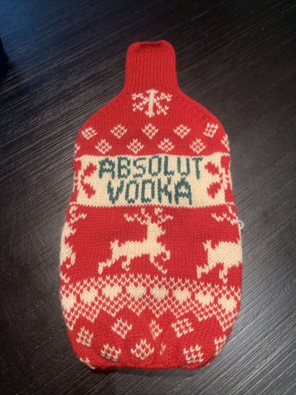 Vintage Absolut Vodka Cynthia Rowley Knitted Bottle Cozy Sweater