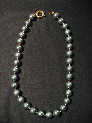 Halskette Kette Collier Schmuck Perlenkette grüne, metallic, 48 cm