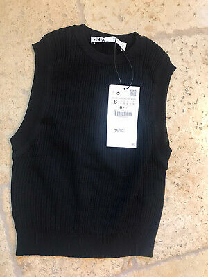 Zara Black Knit Cropped Top Size S New With Tags