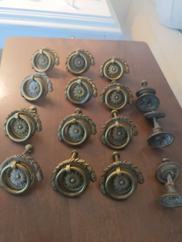 Lot of 12 Antique Solid Brass Fancy Ornate Drop Bail Cabinet Drawer Pulls + 3