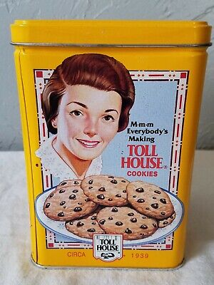 Nestle Toll House Cookie Tin with Vintage Advertising Images