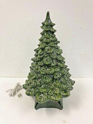 "Vintage Green 20"" Ceramic Christmas Tree mid century decor lighted light up 80s"