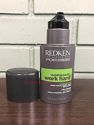 Redken For Men WORK HARD Molding Paste 3.4oz - NEW & FRESH - Fast Free Shipping!