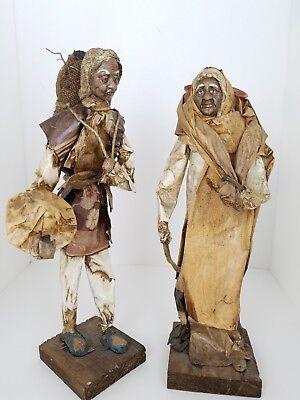 Vtg Mexican Man Woman Paper Mache Wood Figurine Folk Art Collectible Decorative