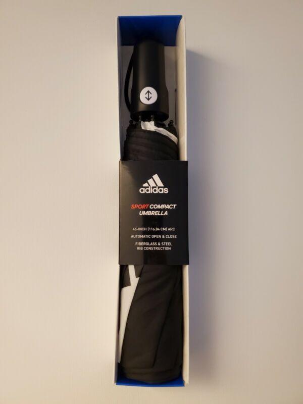 ADIDAS SPORT COMPACT UMBRELLA 46 INCH ARC AUTOMATIC OPEN CLOSE BLACK WHITE GOLF
