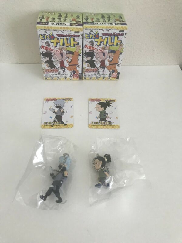 NARUTO MASCOT FIGURES KAKASHI & SHIKAMARU SET OF 2 SEALED BOXES BANDAI 2005