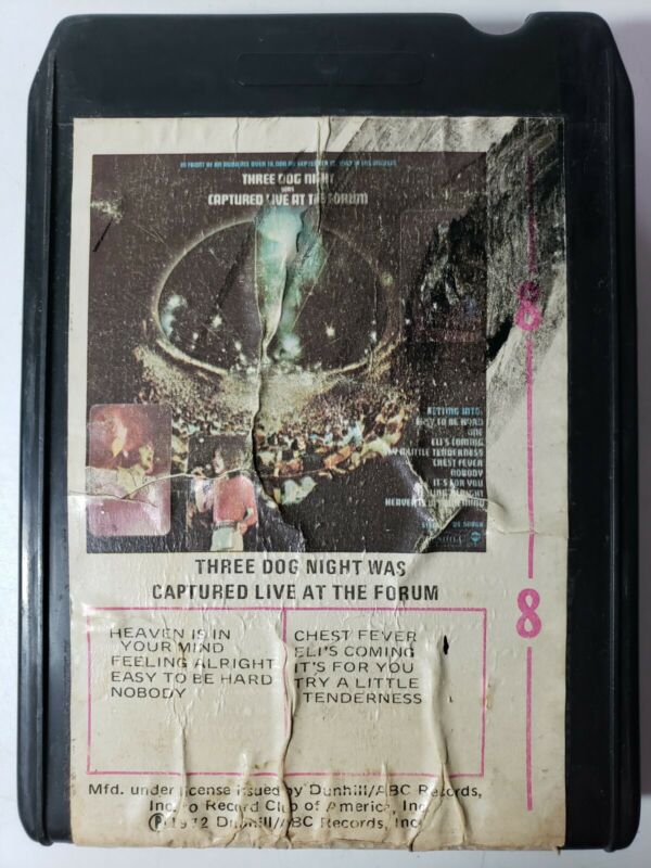 Three Dog Night Captured Live at the Forum 8 Track Tape 1972