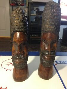 African wood carved heads