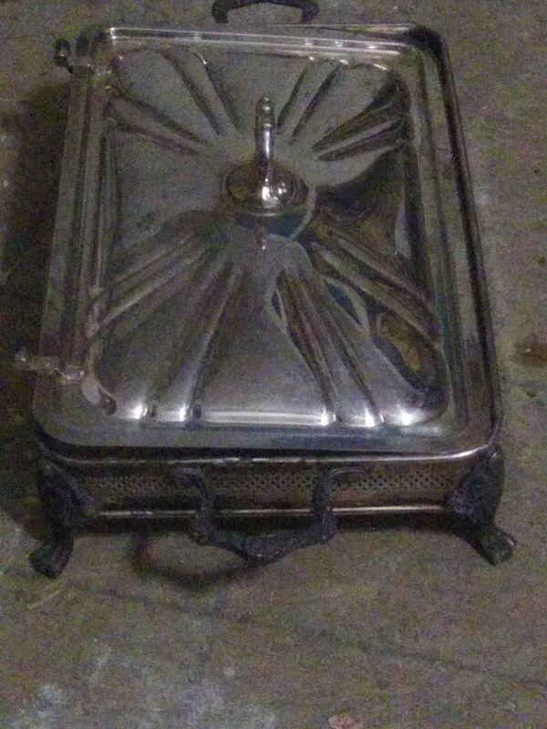 "Sheridan Silverplate Medium Footed Butler Ornate Vintage Chafer 15"" x 10"""